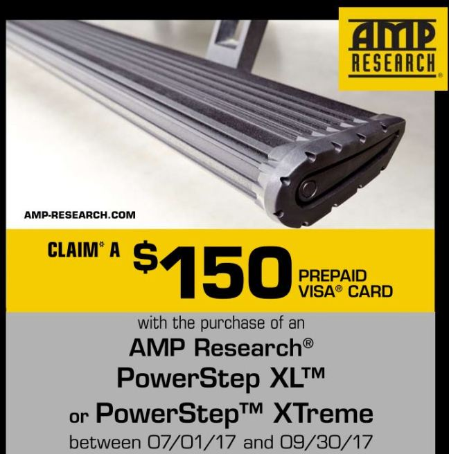 AMP Research: $150 Prepaid Visa with PowerStep XL or XTreme Purchase