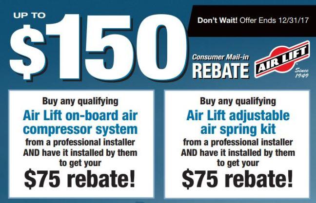Air Lift 150 Dollar Rebate 2