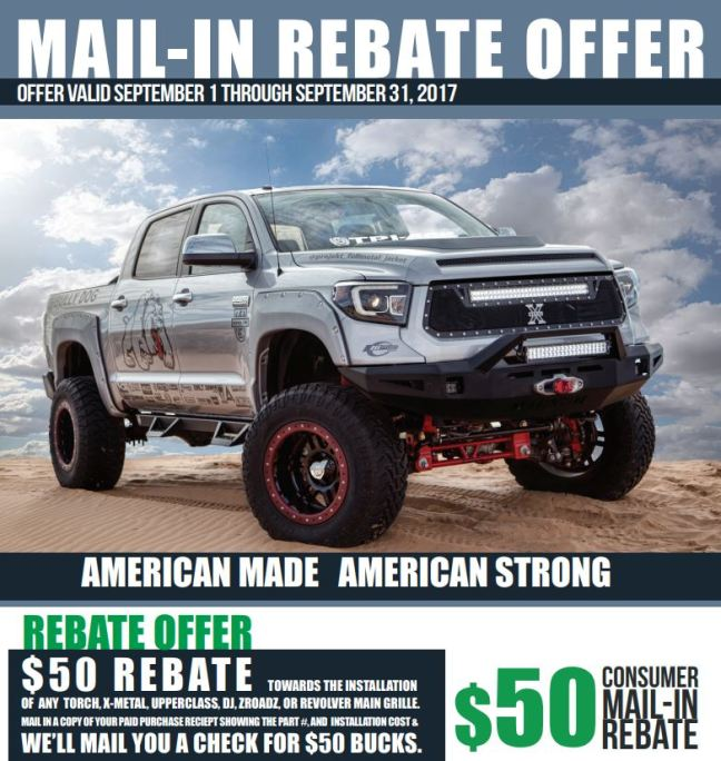 T-Rex 50 Dollar Rebate on Grille Installation