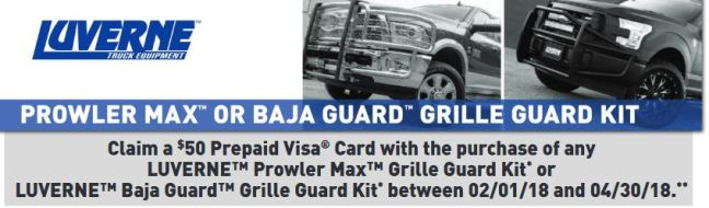 LUVERNE Truck Equipment: Get a $50 Prepaid Card on Select Grille Guard Kits