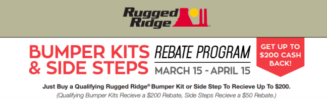 Rugged Ridge 200 Cash Back on Bumpers and Side Steps