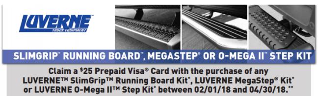 LUVERNE Truck Equipment: Get a $25 Prepaid Card on SlimGrip, MegaStep, and O-Mega II Kits