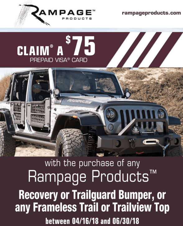 Rampage Products: Get a $75 Prepaid Card on Select Bumper, Frameless Trail, or Trailview Top Purchases