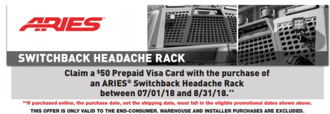 ARIES 50 Prepaid Card on Switchback Headache Racks