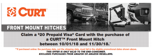 CURT 20 Prepaid Card on Front Mount Hitch