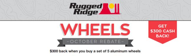 Rugged Ridge $300 Back on Set of 5 Aluminum Wheels