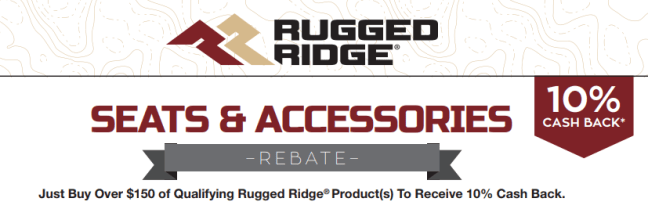 Rugged Ridge: Get 10% Back on Qualifying Seat and Accessory Purchases of at Least $150