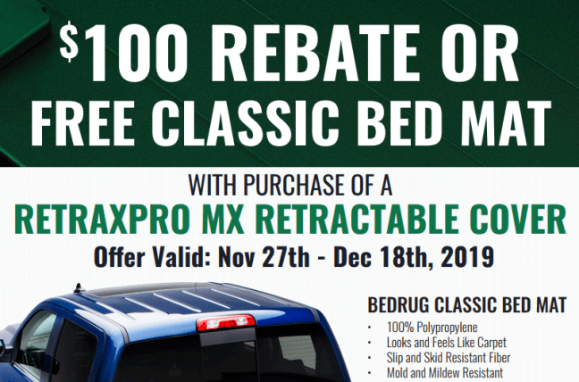 Retrax: Get Free BedRug Classic Bed Mat or $100 Back on RetraxPRO MX Retractable Truck Bed Cover
