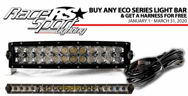 Race Sport Lighting: Get Free Harness with Qualifying Eco Series Light Bar Purchase