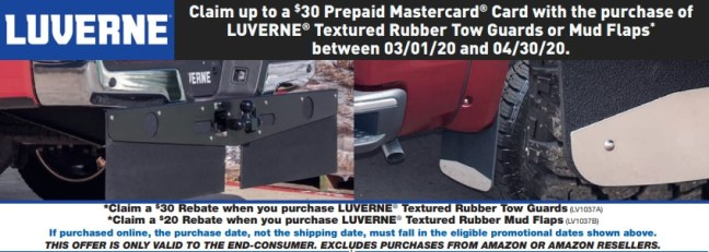 LUVERNE: Get up to $30 Back on Textured-Rubber Tow Guards or Mud Flaps