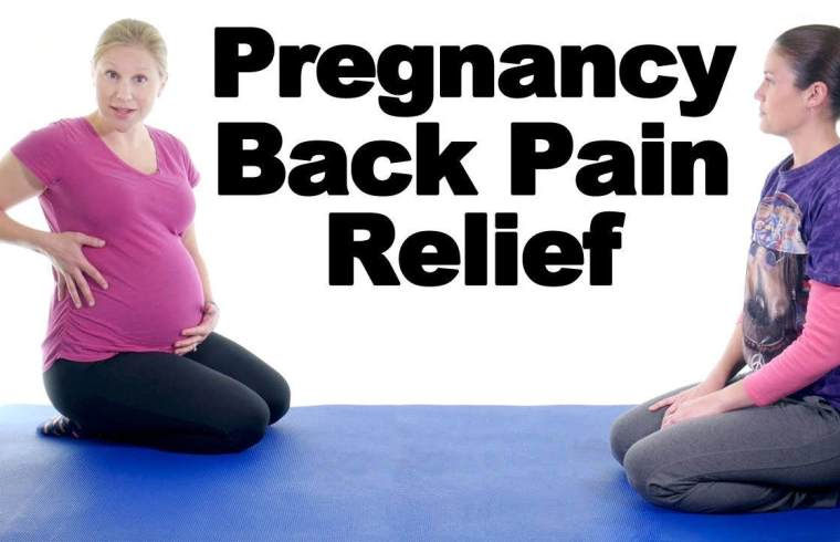 Image illustrates pregnancy back pain relief with Dr Jo.