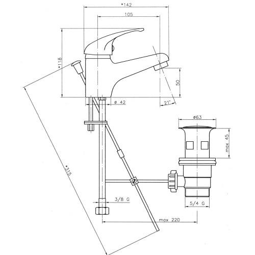 Baterie stativa pentru lavoar Ferro, Titania Iris