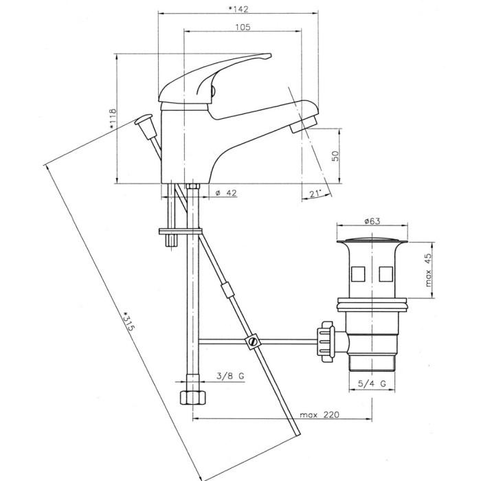Baterie stativa pentru lavoar Ferro Titania Iris 92001.0 1