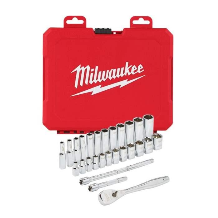 Antrenor cu clichet Milwaukee ¼″ 28 buc chei tubulare sistem metric 1