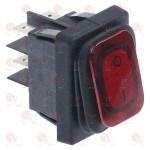 Intrerupator basculant dreptunghiular roșu 2NO 250V 20A 0-I racord fișă plată masculină 6,3mm