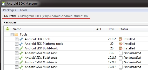 Android SDK path