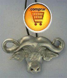 búfalo cabeza colgante de plata