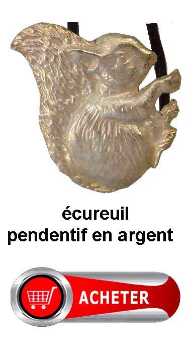 écureuil pendentif en argent amulette signification