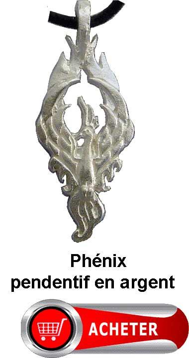 phénix pendentif argent amulette