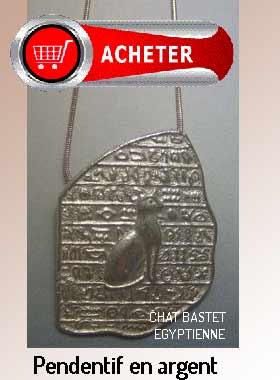 Bastet chat pendentif amulette déeesse egyptienne et pierre rosetta argent signification symbole