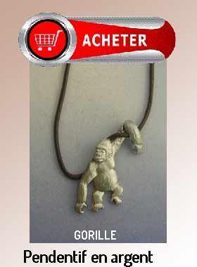 gorille pendentif argent bijoux signification symbole