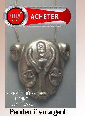Sekhmet déesse egyptienne pendentif argent signification symbole