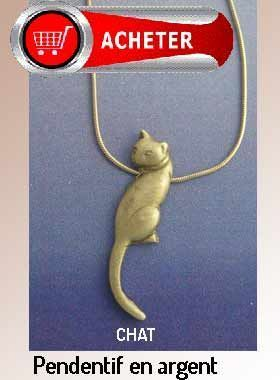 chat pendentif argent bijoux signification symbole