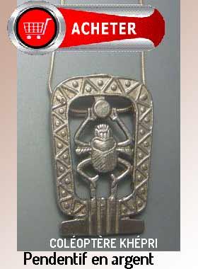 coléoptère khépri dieu Egypte pendentif argent bijoux signification symbole