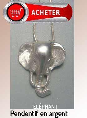 tête d'éléphant pendentif argent bijoux signification symbole