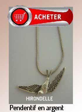 hirondelle pendentif argent bijoux signification symbole