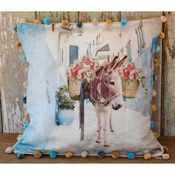 Flower Basket Donkey Pillow