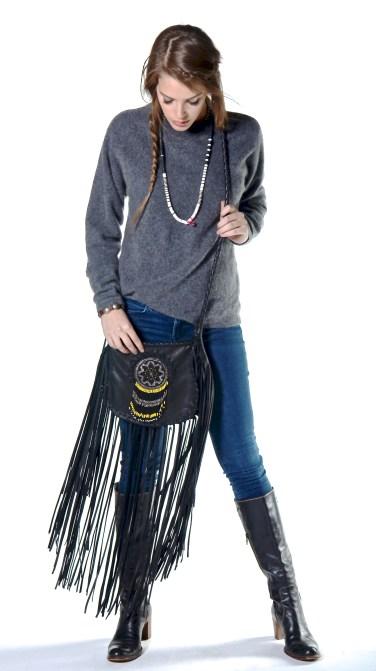 Emily & Black Fringe Bag