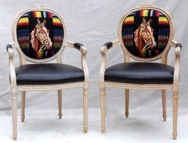 Twin Horse Black Leather Chairs