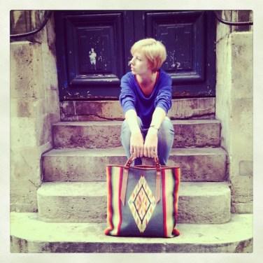 Lucia w/ Faded Serape Sitting Paris