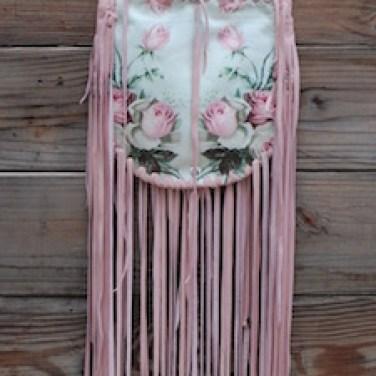 Pink Roses On Leather Fringe Bag