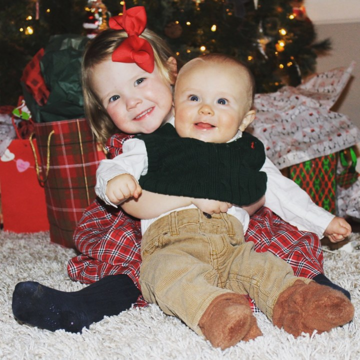 Ho Ho Home sweet home for the holidays (Ella Rose almost 3, Owen 9 mos)