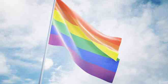 flag of the LGBT community on sky background