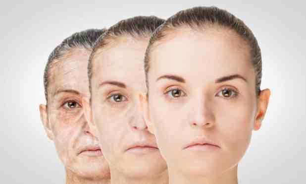 Aging process rejuvenation anti-aging skin procedures. Old and young concept