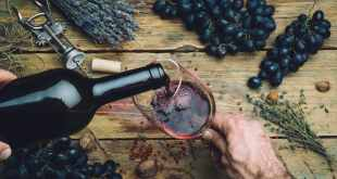 Wine maker pouring red wine