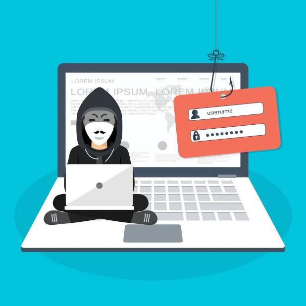 Hacking phishing attack.