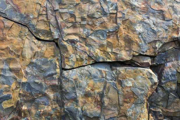 fractured rock at L'Anse aux Meadows, Newfoundland