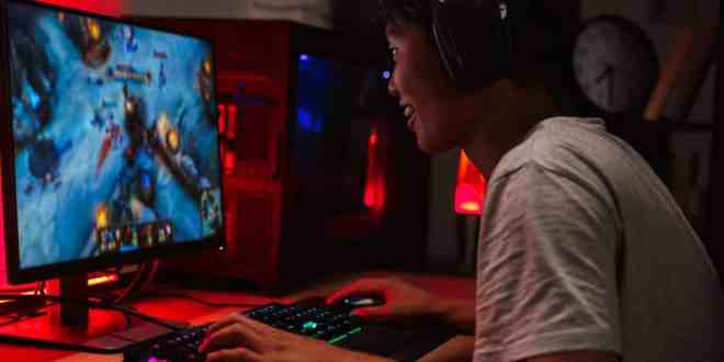 boy playing video games on computer