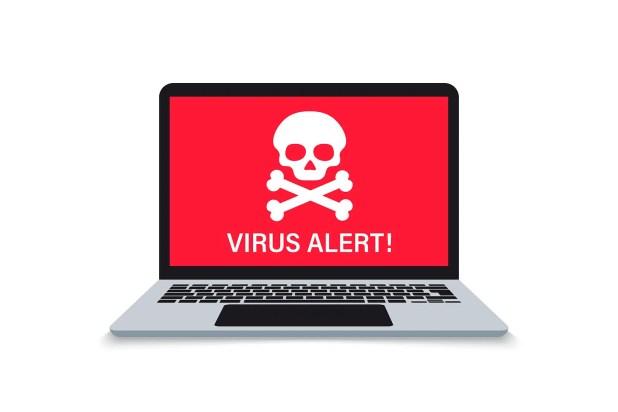 'Malware Alert notification on laptop