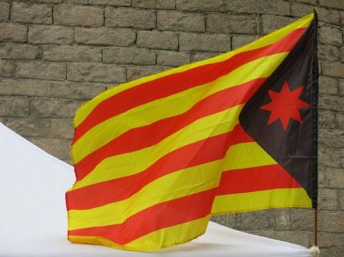 Bandera anarcoindependentista. Fossar de les moreres. Diada 11/9/2013.