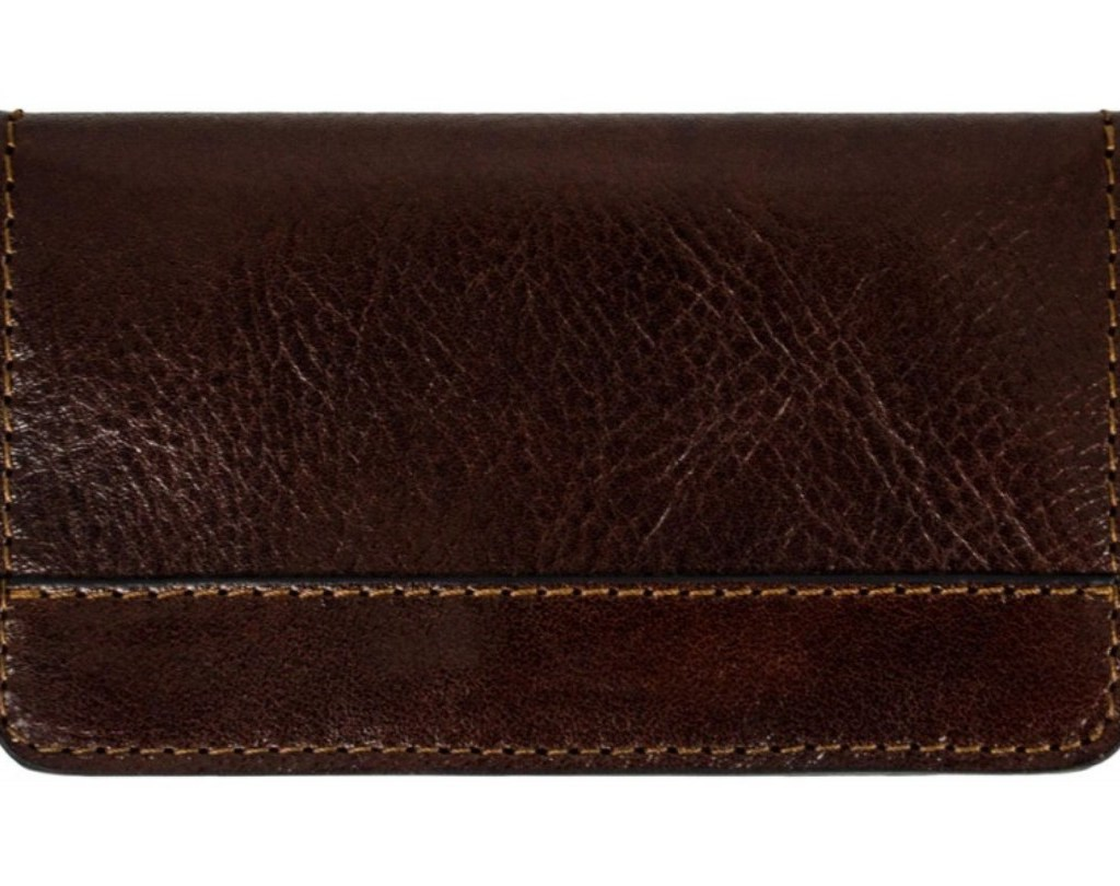 DARK BROWN LEATHER CREDIT CARD HOLDER WITH MAGNETIC CLOSURE - HEART OF DARKNESS