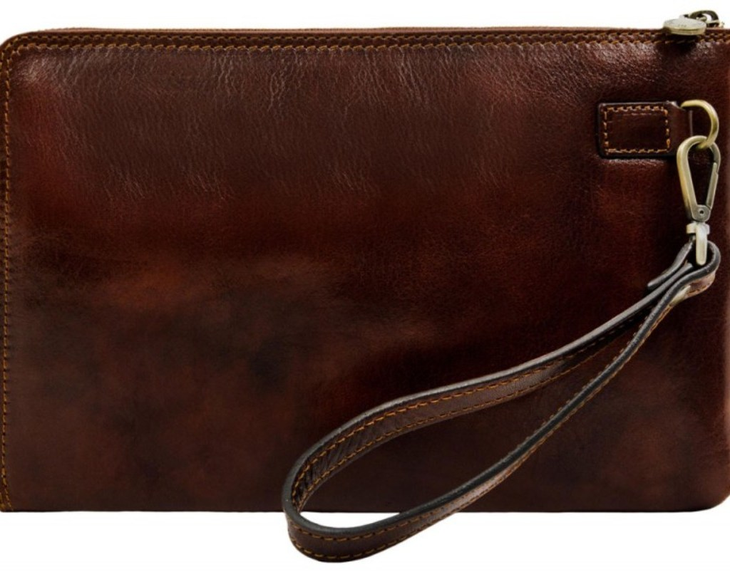 BROWN SMALL LEATHER MENS CLUTCH PURSE - HEART OF DARKNESS