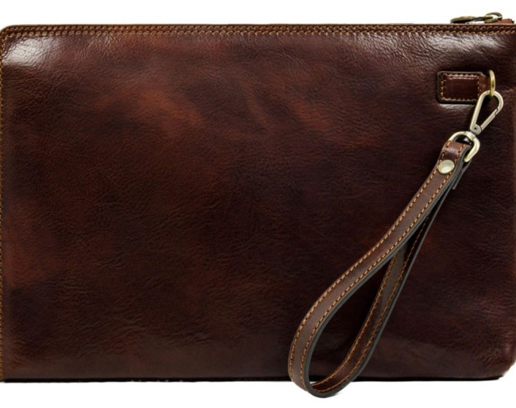 BROWN LARGE LEATHER MENS CLUTCH PURSE - HEART OF DARKNESS