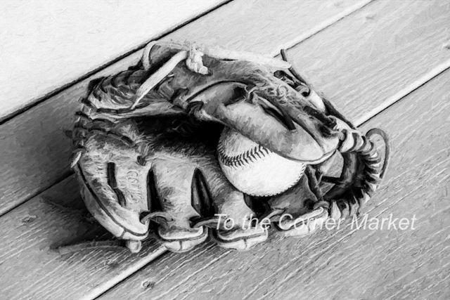 Baseball and Glove BW