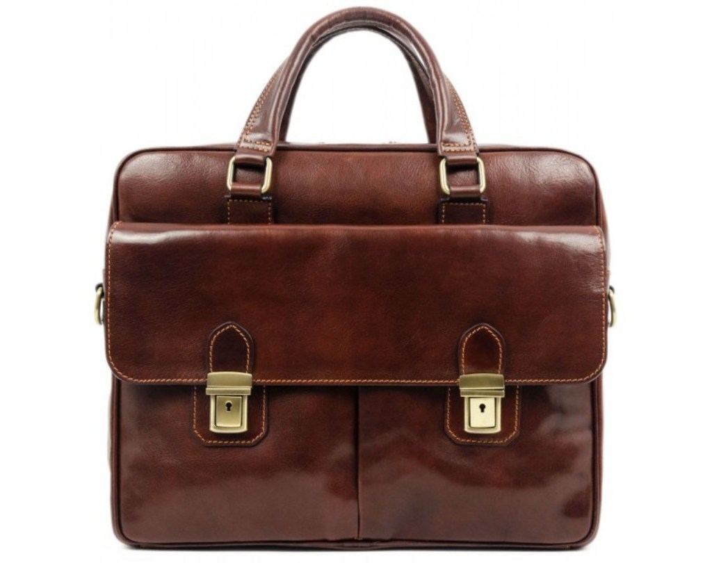 BROWN LEATHER BRIEFCASE LAPTOP BAG – THE STAND