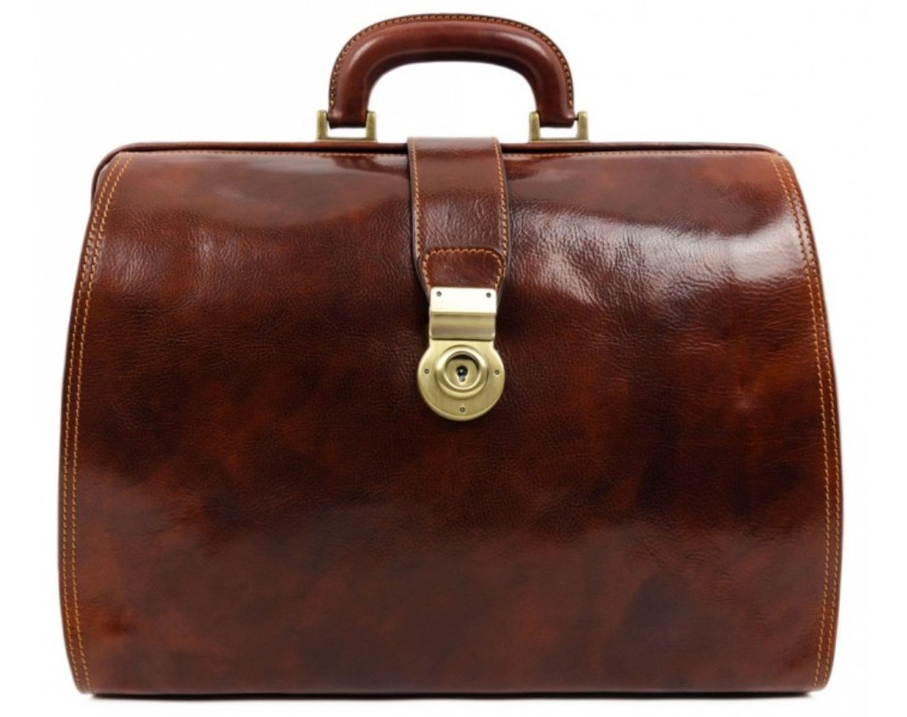 BROWN LARGE LEATHER DOCTOR BAG – MRS DALLOWAY